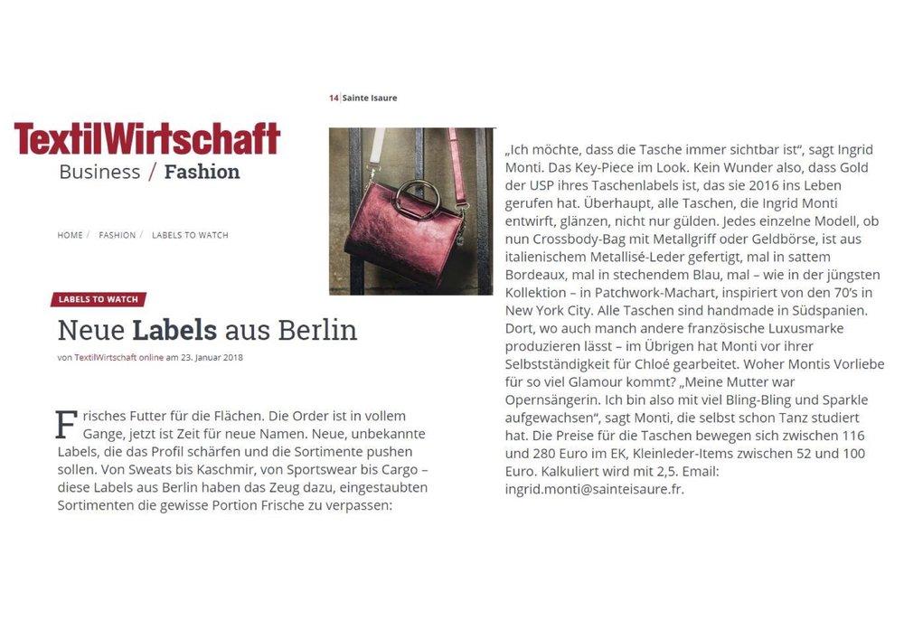 Janvier 2018 : Magazine TextilWirtschaft – Sainte Isaure fait partie des nouveaux labels présentés à Berlin à ne pas manquer