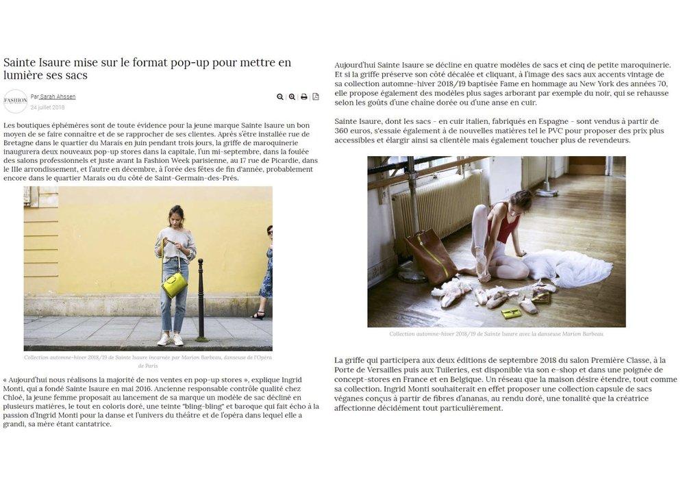Juillet 2018 : Fashion Network - Sainte Isaure et ses prochains RDV