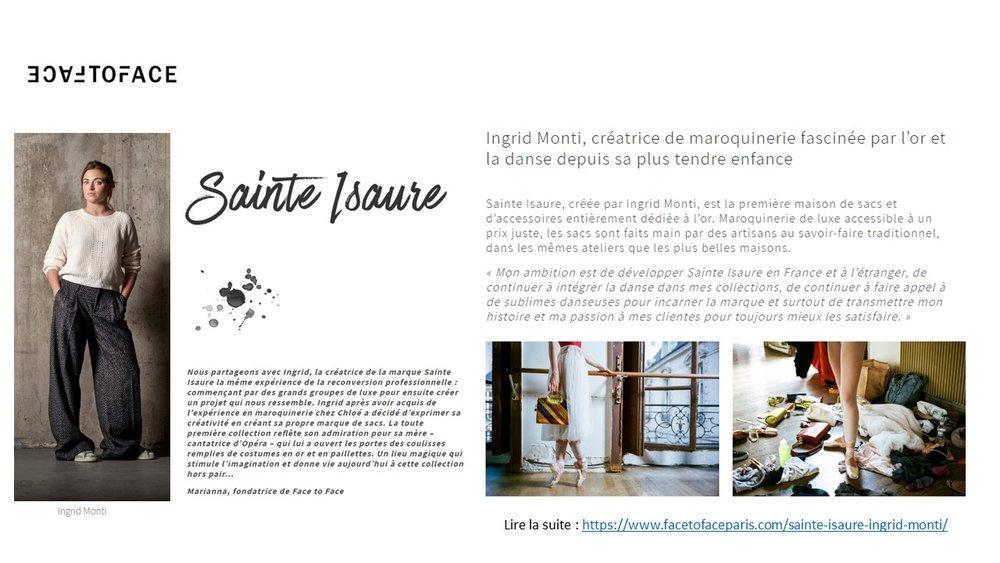 Octobre 2018 : Face to Face : L'histoire de Sainte Isaure et de sa créatrice