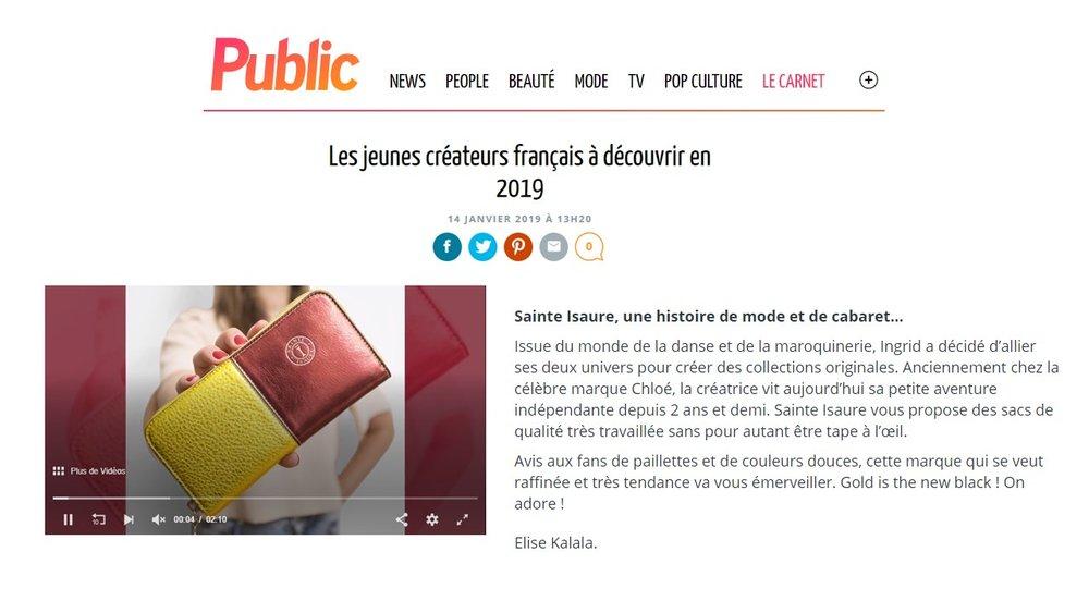 Janvier 2019 : Public - Les jeunes créateurs français à découvrir en 2019