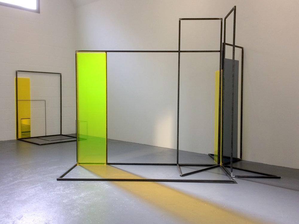 Rosalind Davis.Haus Konstructiv. Steel, Perspex and Mirror installation at no format gallery.2017jpg.jpg