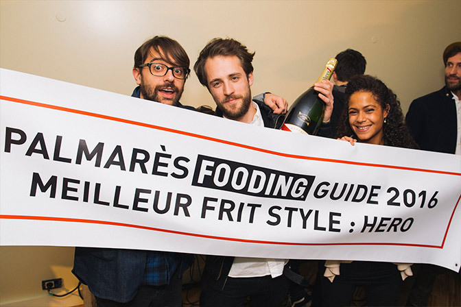 """Hero x Le Fooding - 2015 Once again, the French food guide """"Le Fooding"""" recognizes our team's work and awards Hero the title of """"Meilleur Frit Style 2015"""". Plans of turning this banner into a champagne luge were definitely in order."""