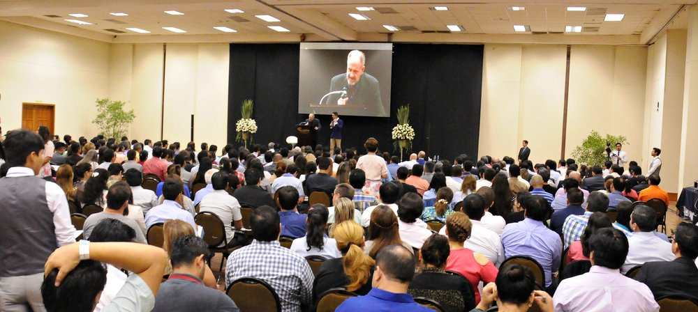 Speaking to Christian marketplace leaders in Bolivia with Apostle Carlos Magno