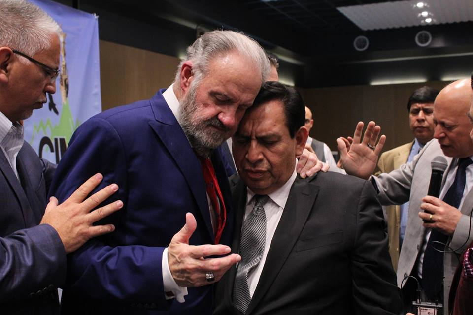 Praying with Dr. Carlos Gordillo, Convenor of CIMA, Coalition of Mexican Apostolic Leaders in Mexico during their Annual Gathering of members.