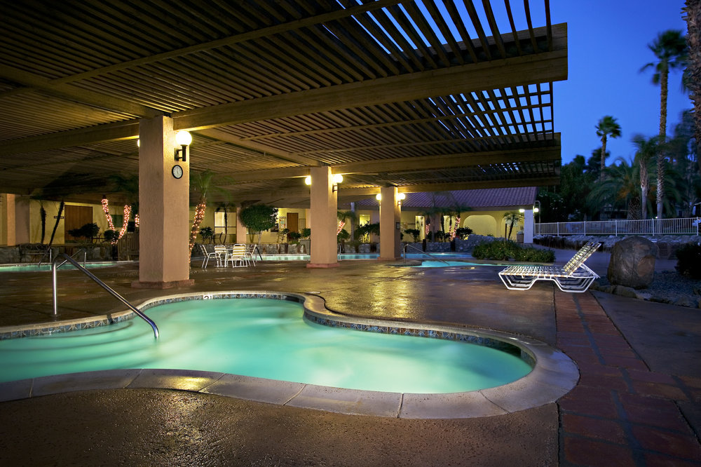RESORT AMENITIES - Four hot mineral poolsSpa and gym facilitiesTennis and pickleball courtsNine-hole executive golf coursePutting green and driving rangeShuffleboardDog parksLibraryLaundry