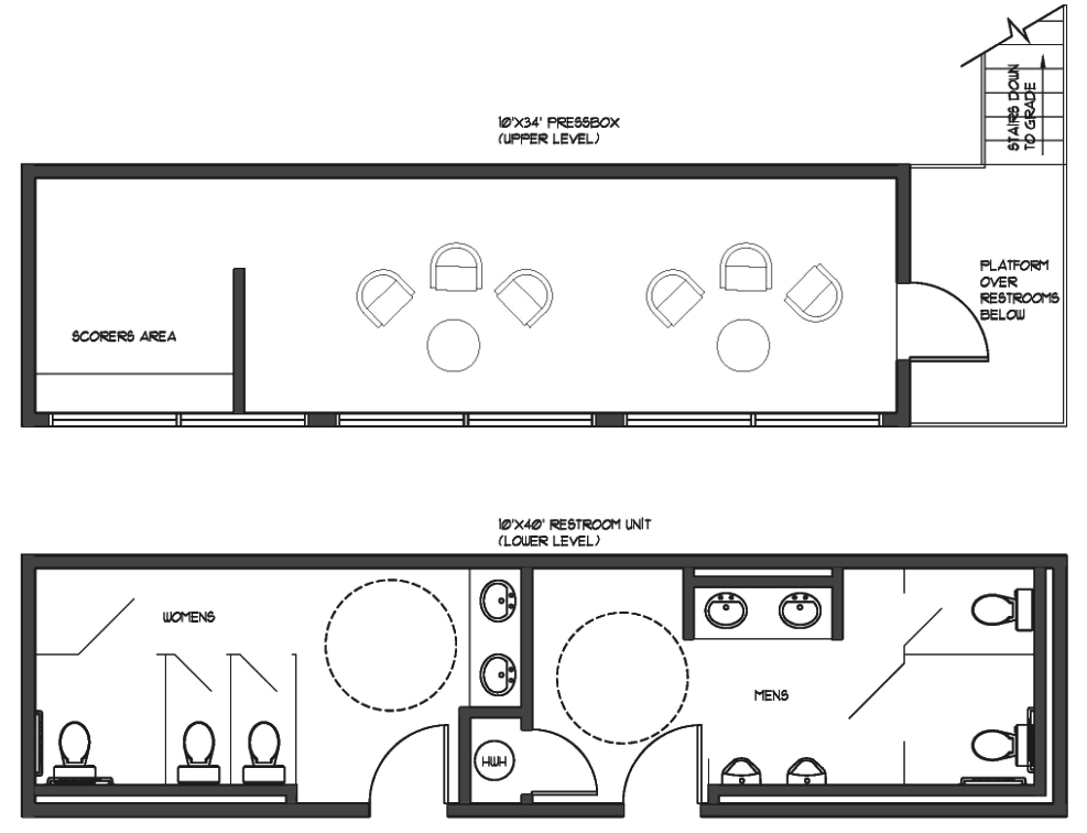 Example of 1st Level Dual Restrooms Under Press Box in Ground Game™ 2-Story Structure