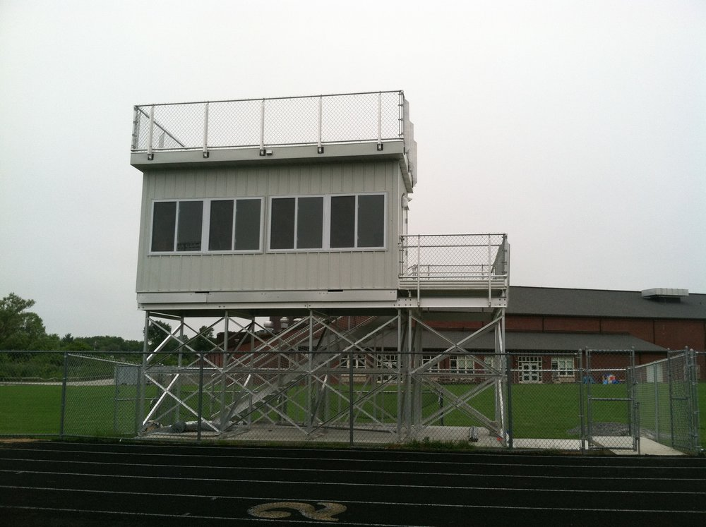 Ypswitch, MA:  8'W x 18'L Press Box w/Camera Deck