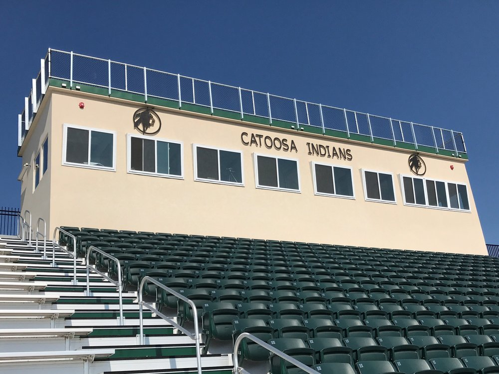 "14'6""W X 59'L Press Box, EIFS (synthetic stucco) exterior"