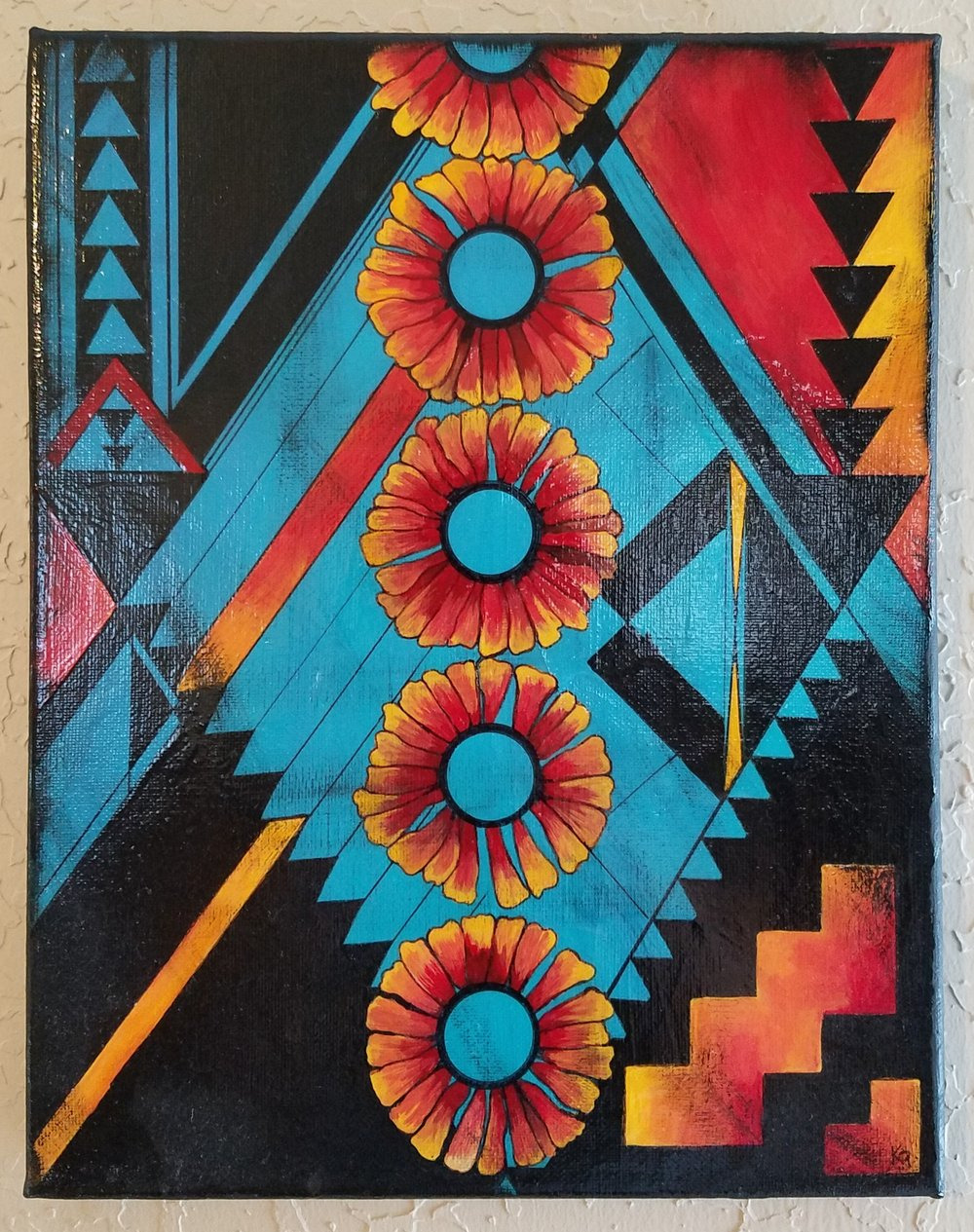 """Indian Blankets acrylic on canvas 12""""x18"""" (click image to see more of this body of work)"""