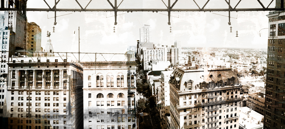 """""""Midtown Vantage,"""" a photo-montage captured from the roof of The Philadelphia Building, 1315 Walnut Street."""