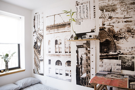Photographic wall vinyl in an apartment in the East Village, New York.
