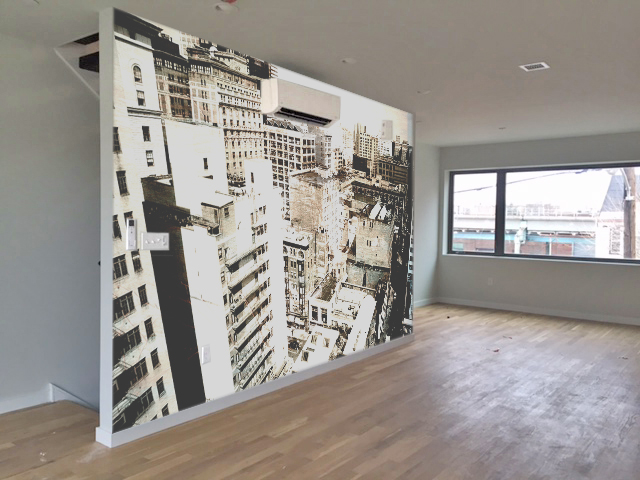 "Rendering of ""Midtown Vantage"" printed on wall vinyl for a home."
