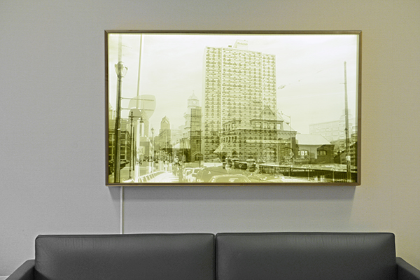 Historic and Contemporary photograph Corian lightbox for  2400 Chestnut Apartments . The historic image is printed on corian, the current on plexi-glass so that when the light is on one sees the same scene of 2400 Chestnut. In collaboration with  Otto Architects.