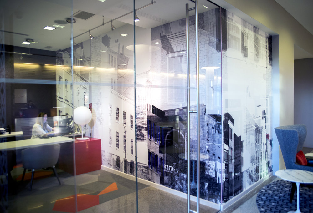 Custom photographic wall-covering for  WestEnd25  in D.C. A re-imagined interpretation of Georgetown on the leasing office and lobby wall, in collaboration with  Hartman Design Group .