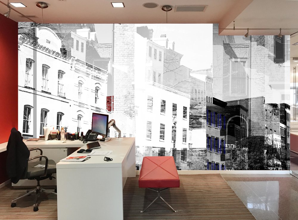 The rendering of the leasing office of  WestEnd25 .