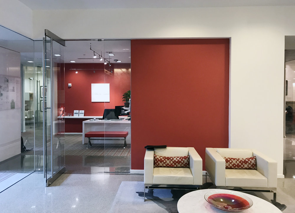 The lobby of  WestEnd25  before installation.