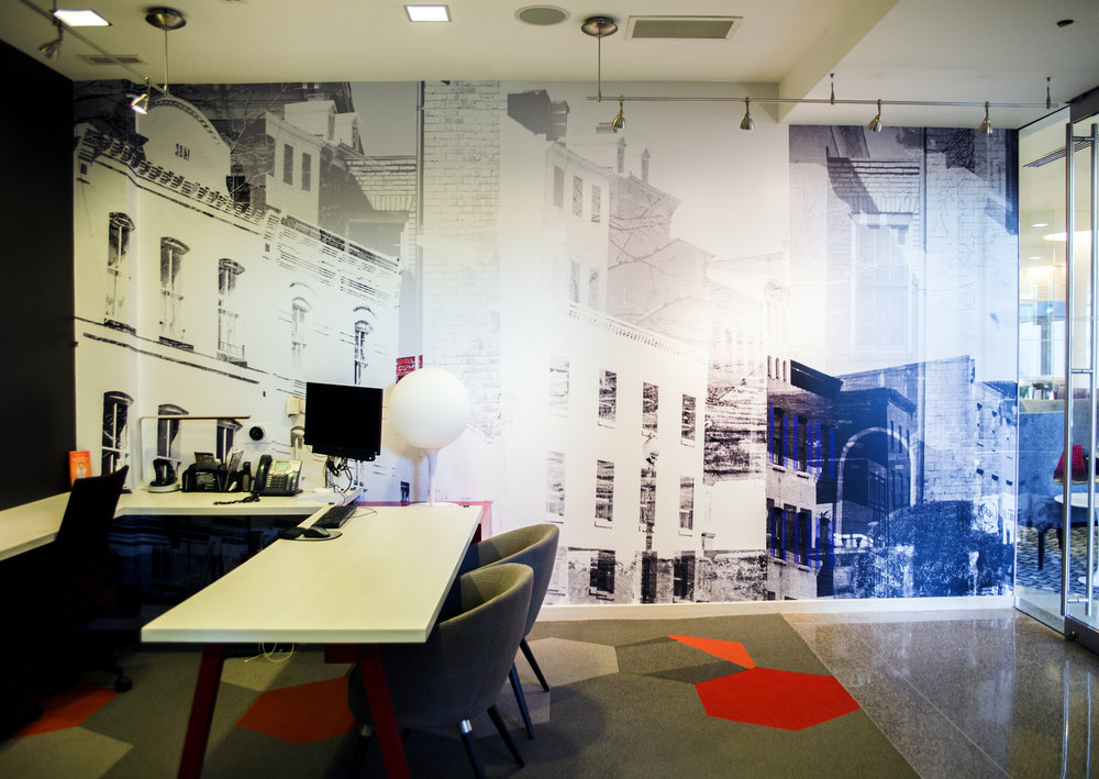 The leasing office of  WestEnd25  in D.C. with Julia's photo-based collage  — a re-imagined interpretation of Georgetown. In collaboration with  Hartman Design Group .