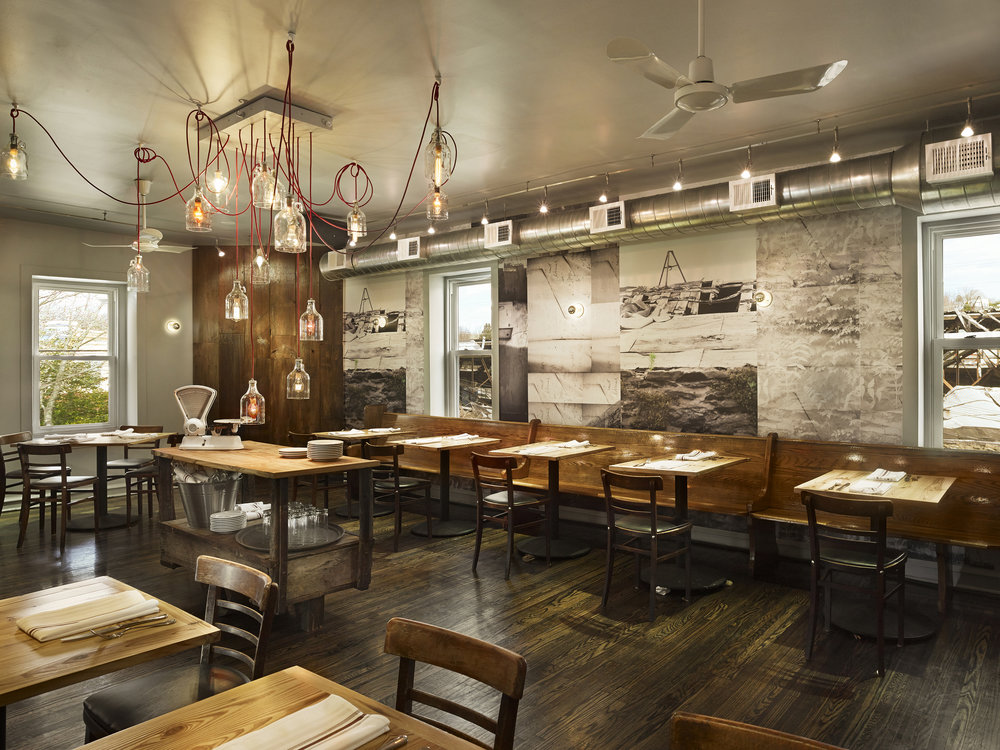 Custom photo-based wallpaper for Goat Hollow in Mt. Airy, Philadelphia. The photographs inside are from the scene outside the restaurant during renovation. In collaboration with  Studio IQL  and  Metcalfe Architecture & Design .