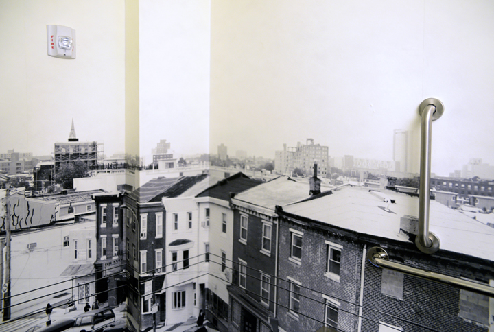 Site-specific artistic photo-wallpaper for Girard Brasserie's restroom, wrapping three of the walls. Julia  photographed from the roof of the restaurant. The final image is a   black and white interpretation of the surrounding cityscape.