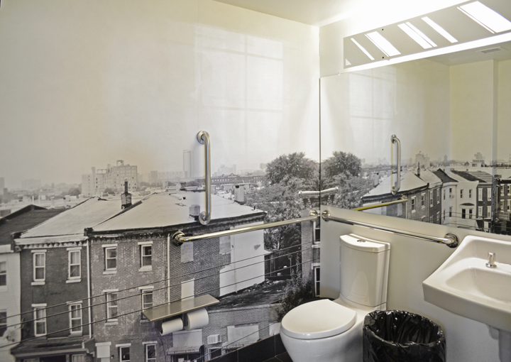 Site-specific artistic photo-wallpaper for Girard Brasserie's restroom, wrapping three of the walls.