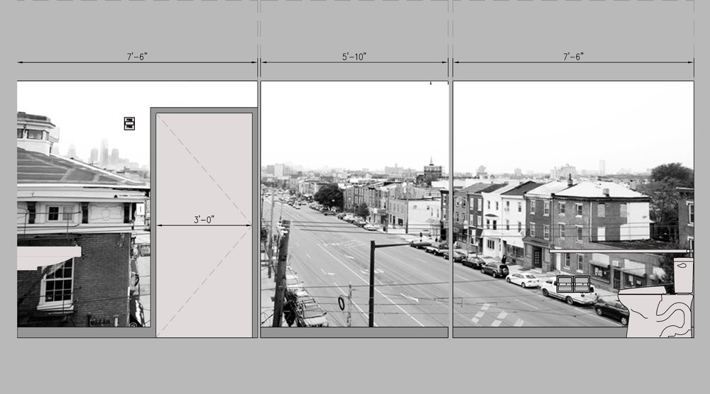 Elevation of photo-based wallpaper for Girard Brasserie. The photograph is of Girard Street, taken from the roof of the restaurant.