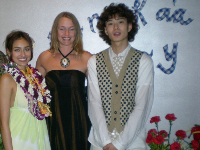 Honoka'a Boy Movie Premier Party hosted by yours truly - Notice the homemade accents of palaka plaid on the wall behind us. Follow the link below to read about it.