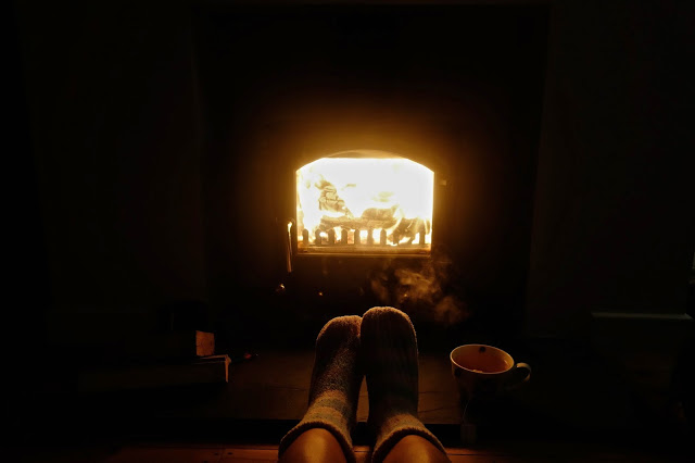 Sitting by the fire in Cornwall
