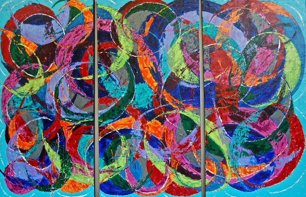 triptych  acrylic on canvas
