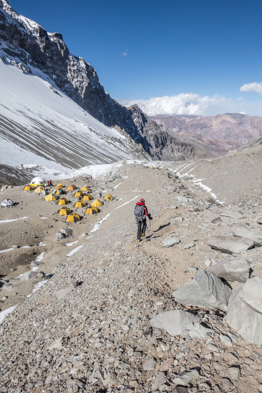 Descending towards Camp I after a successful carry to Camp II