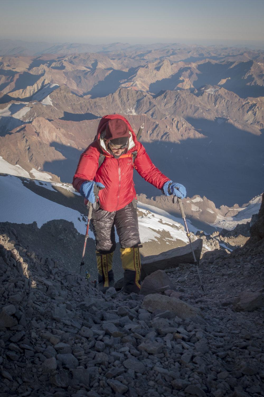 Karin high up above Camp III on summit day
