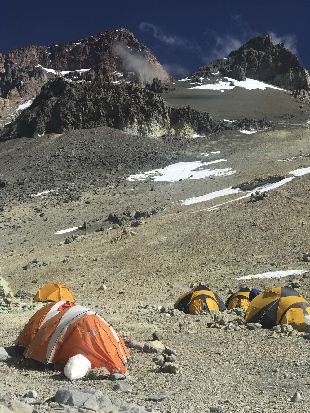 Another shot of Camp III, summit in the background