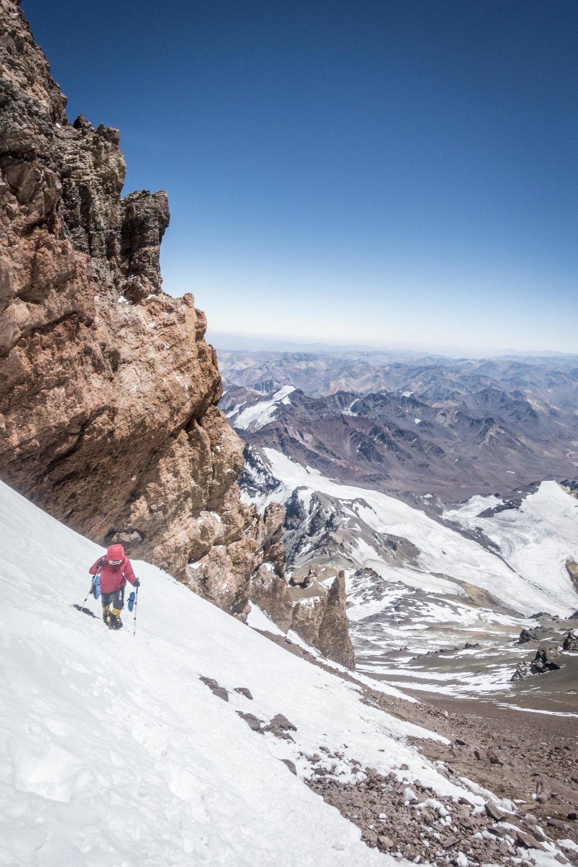 Karin, a member of the 2019 AWExAconcagua team, above the Cueva.