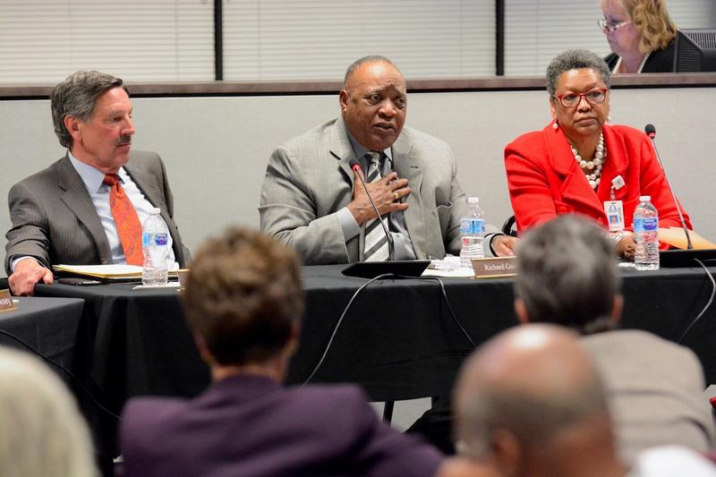 The Special Administrative Board of St. Louis Public Schools at a March meeting. The administrative board has governed the school district for a decade.
