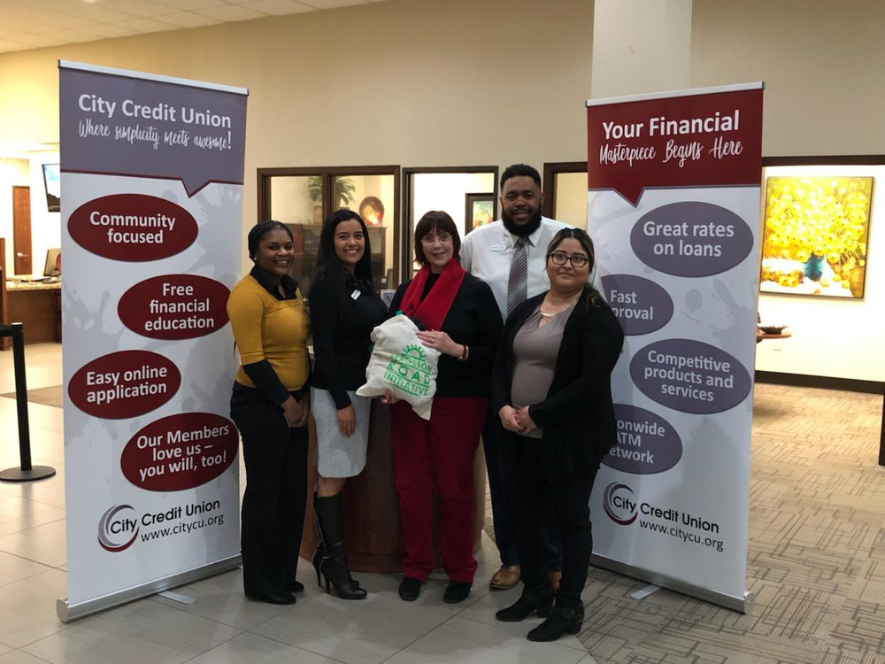 Pictured from left to right: Laquisha Hammond (Member Relationship Specialist), Azucena Lopez (Branch Manager), Vikki J. Martin (Executive Director of FRI), Shaun Artis (Asst. Branch Manager), Anna Herrera (Member Relationship Specialist)