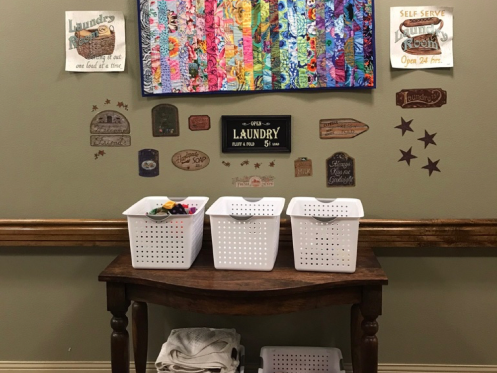 Laundry Station - Many enjoyed doing housework in the past or feel like they'd like to contribute more. A laundry station might include wall signage, socks to match/fold, clothes pins/string, a table, laundry baskets and small towels. Folding is an important movement that may also help range of motion.Visit the Gallery for additional pictures of this Destination Station.