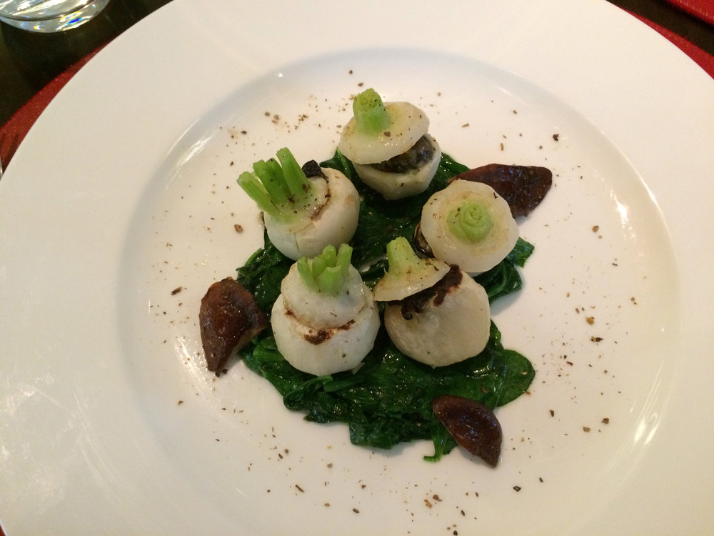 Escargot in baby turnips from Bocuse restaurant at the Culinary Institute of America in Hyde Park New Yor.jpg