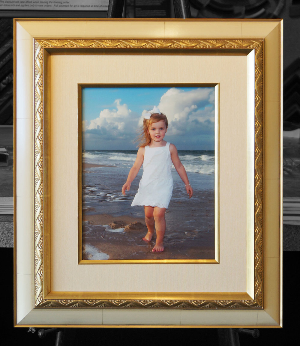 Little Girl on the Beach with an elegant fabric mat and gold fillet