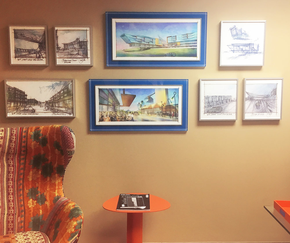 Blue Acrylic Frames for Architectural Drawings