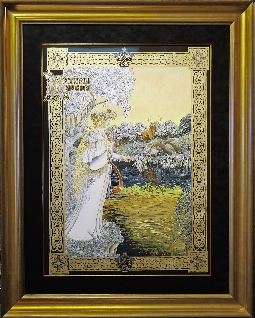 Grand Watercolor Painting with a classic gold leaf frame