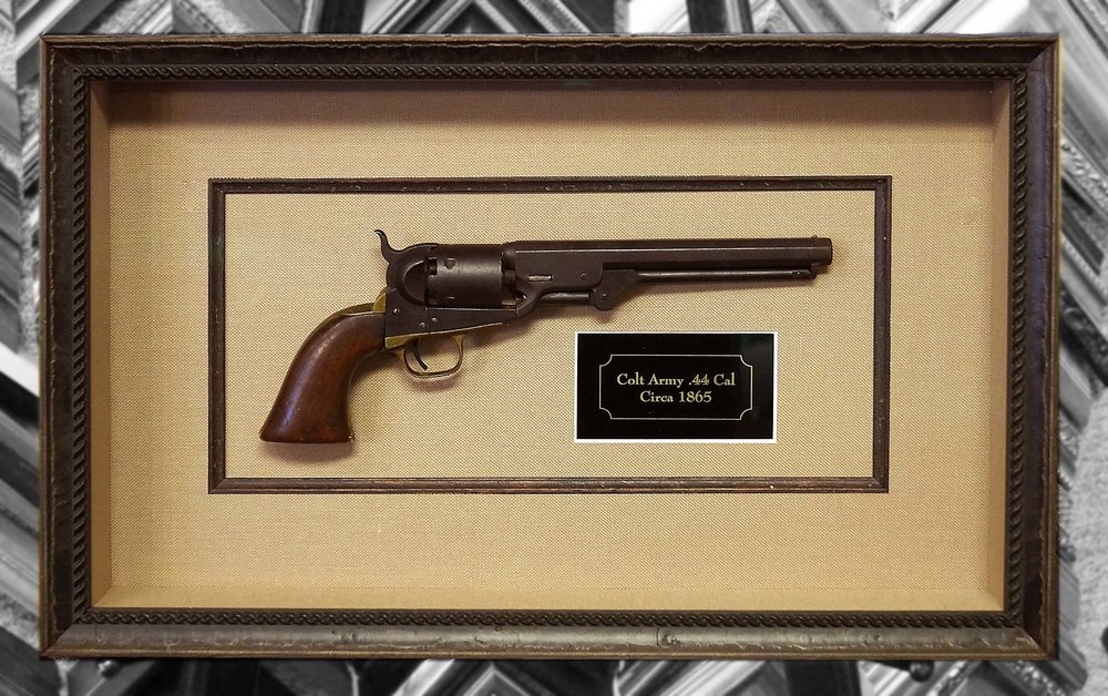 This customer choose to elevate their shadowbox design with a black & gold engraved plaque with scalloped edges.