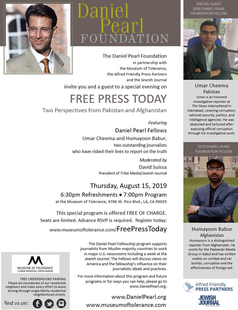News — Daniel Pearl Foundation
