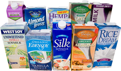 Examples of animal milk alternatives: soy milk, almond milk, rice milk, flax milk, and more.