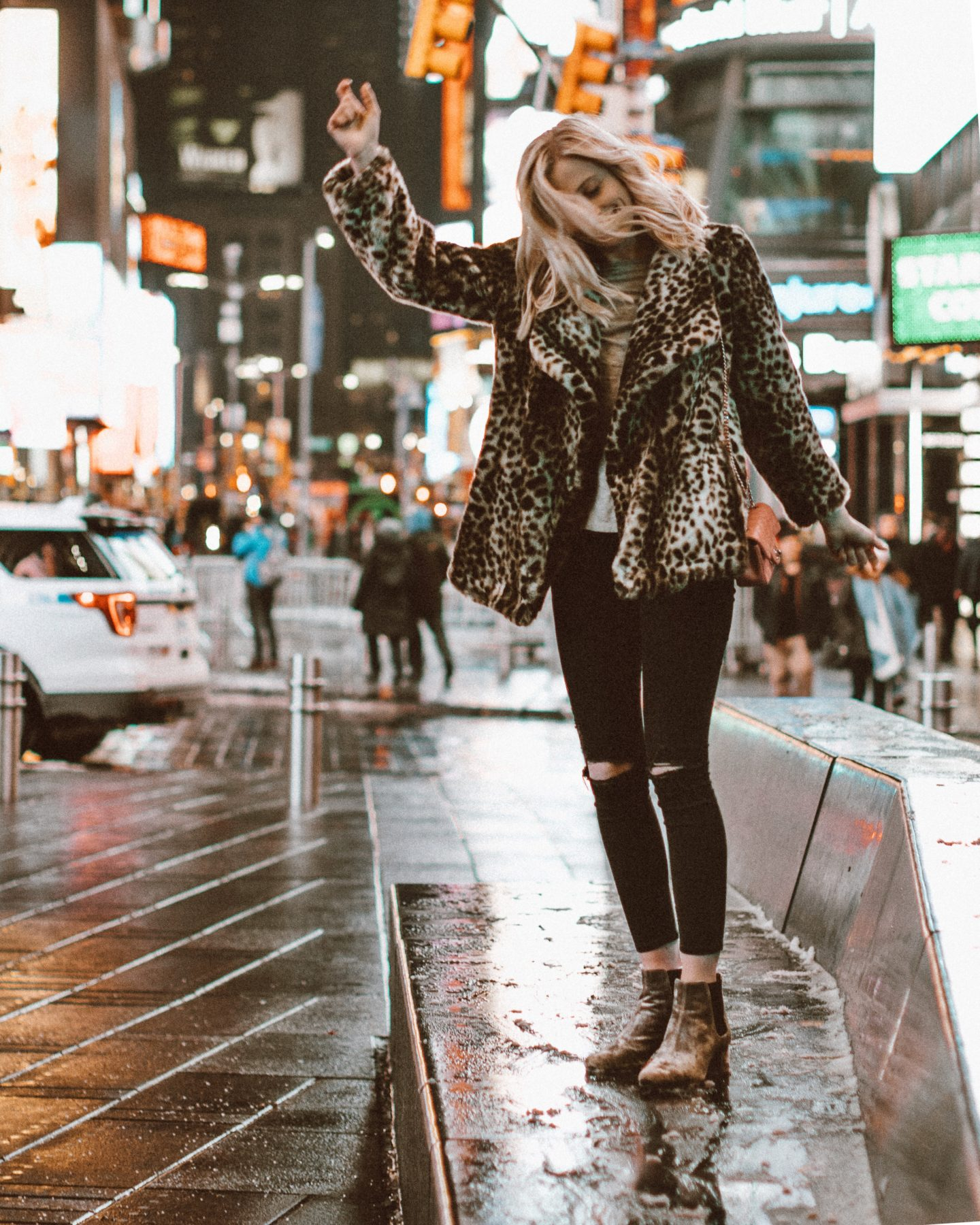 Leopard Faux Fur Coat in Times Square