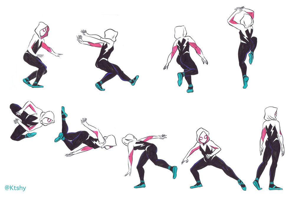Spider-Gwen referencing poses from  bodiesinmotion.photo