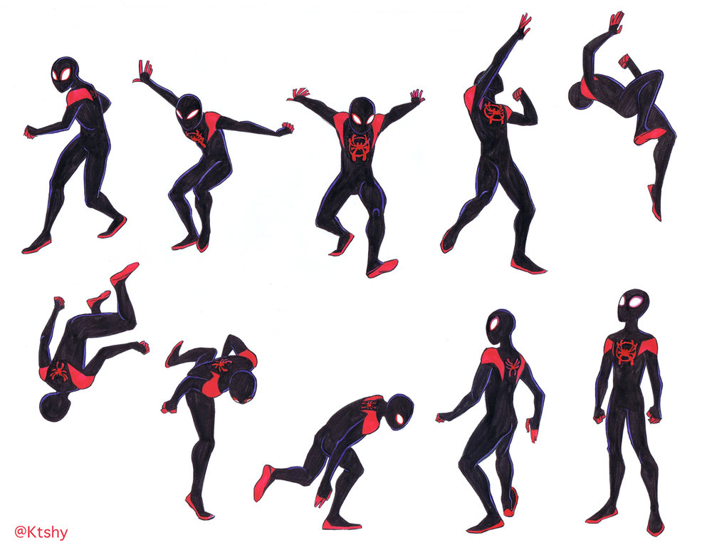 Miles Morales/Spider-Man referencing poses from  bodiesinmotion.photo