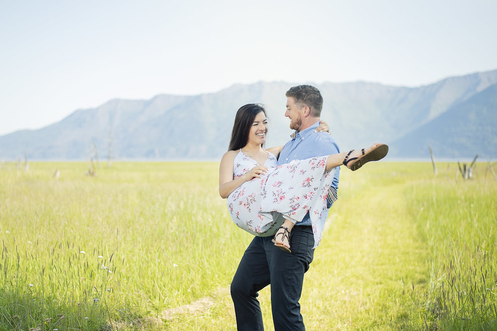 Grassy fields in Hope Alaska were so photogenic for Letitia's and Paul's engagement session