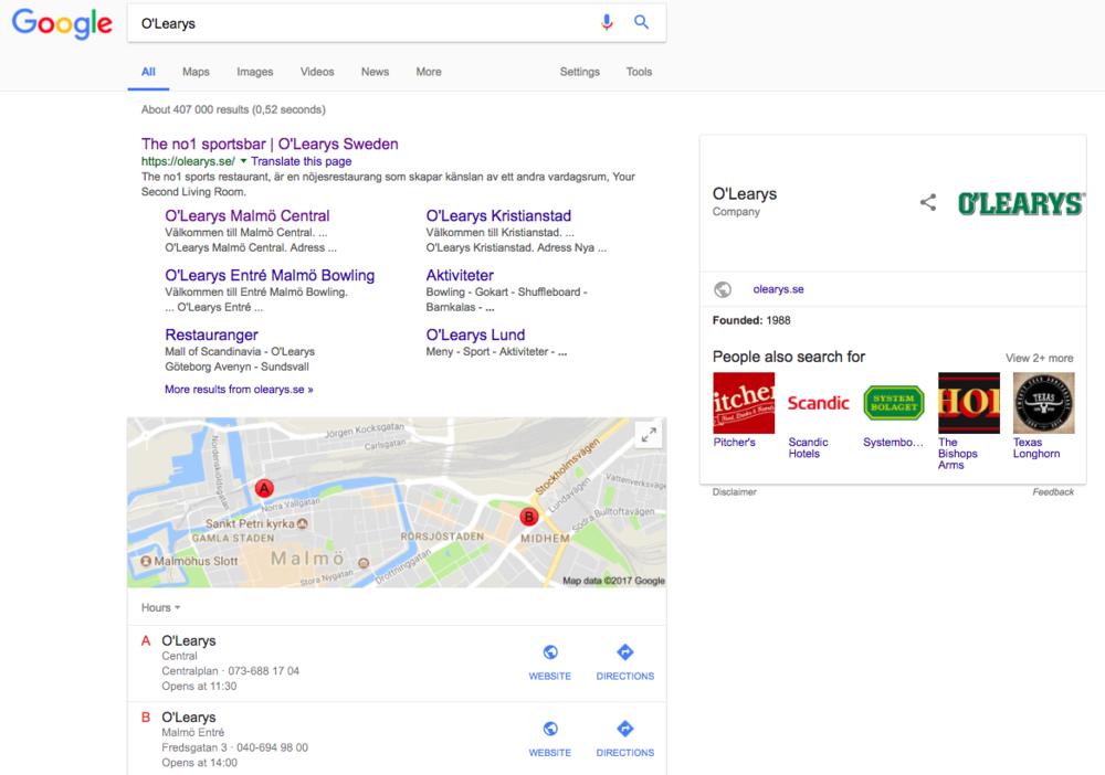 """Googles sökresultat för """"O'Learys"""" som visar platser i Google Maps för närmaste O'Learys"""