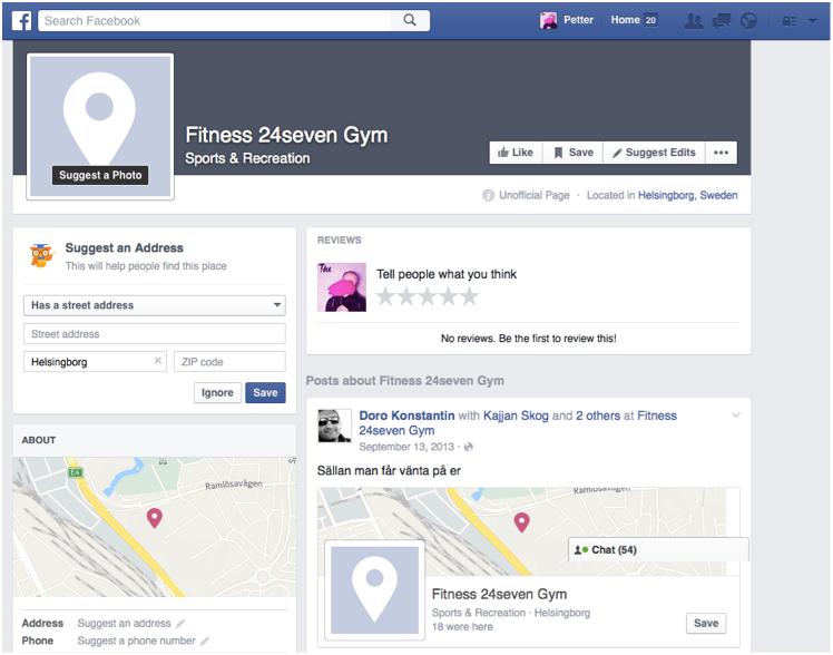 En typisk, falsk Facebook-sida utan märkning, ingen kontaktinformation men mycket aktivitet