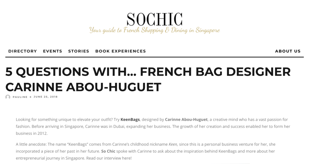 Featured on SoChic - Read the full article here