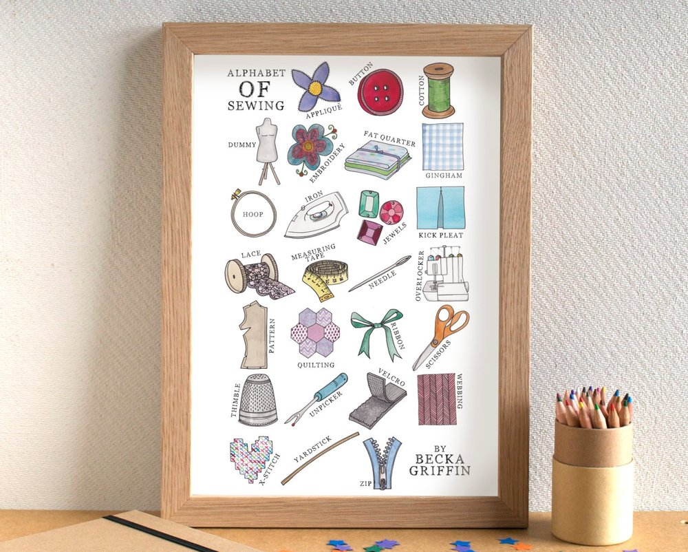 I love every letter (especially the kick pleat!) on this alphabet of sewing by Becka Griffin